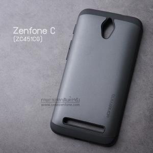 เคส Zenfone C (ZC4510CG) เคส (SLIM HYBRID BUMPER - 2ส่วน) เคสนิ่มพร้อมขอบบั๊มเปอร์ สีดำ/ดำ