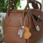 กระเป๋าหนังแท้ ทรงฮิต Lindy 26cm สีน้ำตาล Silver material Coated Leather หนังลูกวัวแท้100% งานคุณภาพไฮเอน thumbnail 9