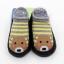 ถุงเท้ารองเท้า มีกันลื่น เนื้อผ้านุ่มนิ่ม สำหรับเด็กวัย 0-2 ปี ลายหมีริ้วเทาเหลืองพื้นดำ thumbnail 2