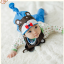 AP179••เซตหมวก+ผ้ากันเปื้อน•• / หมี [สีน้ำตาล+ฟ้า] thumbnail 1