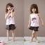 ชุดเสื้อสายเดี่ยว+กางเกงขาสั้นเด็ก ลายเด็กหญิง size 100 110 120 thumbnail 1