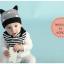 เซตหมวก+ผ้าซับน้ำลาย / ลาย Cat Baby (มี 5 สี) thumbnail 5