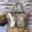 กระเป๋า MNG Shopper bag สีบรอนด์เงิน กระเป๋าหนัง เชือกหนังผูกห้วยด้วยพู่เก๋ๆ!! จัดทรงได้ 2 แบบ thumbnail 1