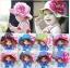 หมวกปีกเด็กหญิงลายจุด ติดดอกไม้ใหญ่ สำหรับเด็กวัย 2-5 ขวบ thumbnail 1