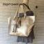 กระเป๋า MNG Shopper bag สีบรอนด์เงิน กระเป๋าหนัง เชือกหนังผูกห้วยด้วยพู่เก๋ๆ!! จัดทรงได้ 2 แบบ thumbnail 4