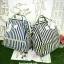 กระเป๋า Anello Casual Fabric Square Shaped Rucksack Stripe Navy blue thumbnail 7