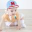 หมวกแก๊ป หมวกเด็กแบบมีปีกด้านหน้า ลายตัวอักษร H (มี 2 สี) thumbnail 3
