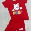 ชุดสีแดงเด็กโต เสื้อยืด+กางเกงขาสั้นเอวยางยืด หมีพูน่ารัก สำหรับเด็กวัย 3-8 ปี thumbnail 1