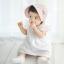 หมวกบอนเน็ต หมวกเด็กผู้หญิงปิดท้ายทอย ลายดอกไม้เล็ก (มี 2 สี) thumbnail 5