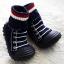 รองเท้าถุงเท้าพื้นยางหัดเดิน ลายรองเท้ากีฬา สีดำ size 19-23 thumbnail 1
