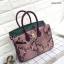 กระเป๋าถือสะพาย ขนาด 30 เบอกิ้นปั้มลายงานหนังวัวแท้ สีทูโทน (Leather100%) thumbnail 5