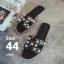 รองเท้าแตะไซส์ใหญ่ ไซส์ 44 ดีไซน์ H แอเมส ประดับไข่มุกสุดหรู สินค้านำเข้าเกาหลี สีดำ รุ่น KR0588 thumbnail 1