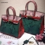 กระเป๋าถือสะพาย ขนาด 30 เบอกิ้นปั้มลายงานหนังวัวแท้ สีทูโทน (Leather100%) thumbnail 2