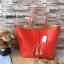กระเป๋า MNG Shopper bag สีแดง กระเป๋าหนัง เชือกหนังผูกห้วยด้วยพู่เก๋ๆ!! จัดทรงได้ 2 แบบ thumbnail 1