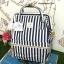 กระเป๋า Anello Casual Fabric Square Shaped Rucksack Stripe Navy Blue thumbnail 1