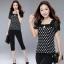 ชุดเซ็ต 2 ชิ้น เสื้อ + กางเกง คอสี่เหลี่ยม ลายจุดขาว 3XL 4XL รหัส FF0139 thumbnail 1