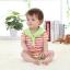จั๊มสูทเด็ก ทรงทหารเรือรายริ้วสีส้ม - เขียว สำหรับเด็ก 3-12 เดือน thumbnail 4