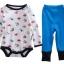 เซตเสื้อผ้าเด็ก Cuddle me บอดี้สูทแขนยาว+กางเกงขายาว+ผ้ากันเปื้อน ลายรถสีแดงฟ้า thumbnail 2