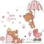 สติกเกอร์แต่งห้อง DIY ลายหมีน้อยสีชมพู ลอกออกแล้วติดซ้ำได้ thumbnail 1