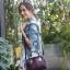 กระเป๋า Amory Leather Mini Durable Classic bag สีแดงเข้ม thumbnail 10