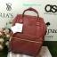 กระเป๋าเป้ Anello polyurethane leather rucksack Red Wine Mini thumbnail 1