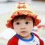 HT478••หมวกเด็ก•• / หมวกปีกกว้าง-โบว์คู่ (สีส้ม) thumbnail 1
