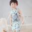 ผ้าซับน้ำลายสามเหลี่ยม ผ้ากันเปื้อนเด็ก [ผืนเล็ก] / Blue Feathers thumbnail 2