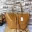 กระเป๋า MNG Shopper bag สีน้ำตาล กระเป๋าหนัง เชือกหนังผูกห้วยด้วยพู่เก๋ๆ!! จัดทรงได้ 2 แบบ thumbnail 1