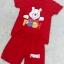 ชุดสีแดงเด็กโต เสื้อยืด+กางเกงขาสั้นเอวยางยืด หมีพูน่ารัก สำหรับเด็กวัย 3-8 ปี thumbnail 3