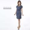 ชุดให้นม Phrimz : Waffle breastfeeding Dress - Navy Blue สีเทาเข้ม