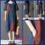 ชุดคลุมท้อง ผ้าลินิน ชุดน้ำเงิน แขนสั้น ยาวถึงเข่า M,L,XL thumbnail 4