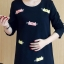 ชุดคลุมท้องแฟชั่นเกาหลี แขนยาว ลายแมวน้อย ผ้าหนานิ่ม M,L,XL thumbnail 2