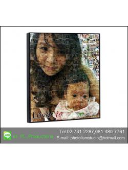 Mosaic Photo แบบ cell ตามอัดตราส่วนรูป 2 ต่อ 3 ขนาด 30x40นิ้ว + กรอบลอย เคลือบด้าน