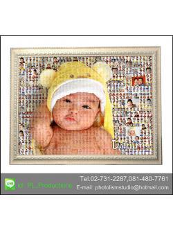 Mosaic Photo แบบcell เล็ก+ cell กลาง ขนาด 24x30นิ้ว+ กรอบไม้เส้น สีครีม เคลือบร้อน ลายผ้า