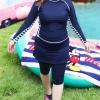 ชุดว่ายน้ำไซส์ใหญ่ พร้อมส่ง :ชุดว่ายน้ำคนอ้วนแฟชั่นสีน้ำเงินกรมแขนยาวแต่งขอบขาวสีสวยมาพร้อมกางเกงกระโปรง set 3 ชิ้นสวยเก๋น่ารักมากๆจ้า:รายละเอียดไซส์คลิกเลยจ้า