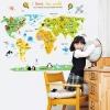 สติ๊กเกอร์แผนที่โลกสีสันสดใสสไตล์เด็กน้อย