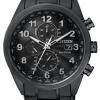 นาฬิกาข้อมือผู้ชาย Citizen Eco-Drive รุ่น AT8018-56E, Black IP Global Radio Controlled Sapphire Chronograph
