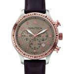 นาฬิกาผู้ชาย Nautica รุ่น A17656G Chronograph Grey Dial Brown Leather Strap