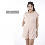 ชุดให้นม Phrimz : Popcorn breastfeeding jumpsuit - Beige สีเบจ