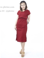 ชุดให้นม Phrimz : Muffin breastfeeding Maxi Dress - Red สีแดง