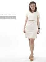 ชุดให้นม Phrimz : Waffle breastfeeding Dress - Cream สีครีม