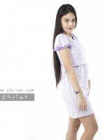 ชุดให้นม Phrimz : Marble Breastfeeding Dress - Purple สีม่วง