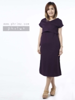 ชุดให้นม Phrimz : Muffin breastfeeding Maxi Dress - Eggplant สีม่วง