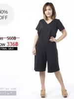 *** ชุดให้นม ราคาพิเศษ *** ชุดให้นม Phrimz : Olivia breastfeeding jumpsuit - Black Striped สีดำ