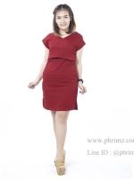 ชุดให้นม Phrimz : Waffle breastfeeding Dress - Red สีแดง