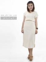 ชุดให้นม Phrimz : Muffin breastfeeding Maxi Dress - Cream สีครีม