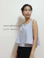 เสื้อให้นม Phrimz : Belle breastfeeding top - Cloud สีเทาอ่อน