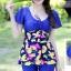 ชุดว่ายน้ำแฟชั่นสีน้ำเงินพร้อมส่ง:ชุดเสื้อกางเกงแต่งลายดอกไม้สีเหลืองสีสันสดใส กางเกงขาสั้นใส่ด้านในน่ารักมากๆจ๊ะ:รอบอก36-44นิ้ว เอว36-42นิ้ว สะโพก38-46นิ้วจ้า thumbnail 1