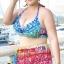 ชุดว่ายน้ำคนอ้วน พร้อมส่ง :ชุดว่ายน้ำไซส์ใหญ่สีรุ้งผูกคอแต่งลายโบฮีเมียนสีน้ำเงินชมพูหลากสี สีสันสดใส set 3 ชิ้นมีบราตัวใน เสื้อคลุมตัวนอกและกางเกงขาสั้น แบบเก๋น่ารักมากๆจ้า:รายละเอียดไซส์คลิกเลยจ้า thumbnail 3