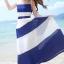 เสื้อผ้าแฟชั่นผู้หญิงพร้อมส่ง : เดรสสีน้ำเงินแฟชั่น แต่งลายทางสีขาว กระโปรงพริ้วๆ น่ารักมากๆจ้า thumbnail 1
